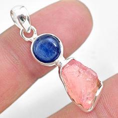 925 silver 8.73cts natural pink rose quartz raw fancy kyanite pendant t25511