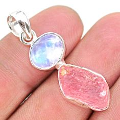 925 silver 9.83cts natural pink rose quartz raw fancy moonstone pendant t25496