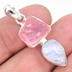 925 silver 9.53cts natural pink rose quartz raw fancy moonstone pendant t25499