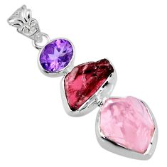 925 silver 18.70cts natural pink rose quartz rough garnet rough pendant r56697