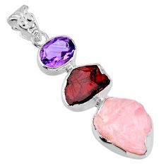 925 silver 17.22cts natural pink rose quartz rough garnet rough pendant r56700