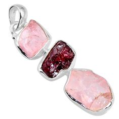 925 silver 17.22cts natural pink rose quartz rough garnet rough pendant r57036