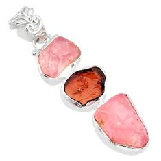 925 silver 15.02cts natural pink rose quartz raw garnet rough pendant r83084