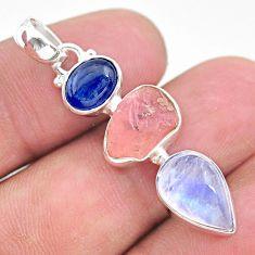 925 silver 11.55cts natural pink rose quartz raw moonstone pendant t25433