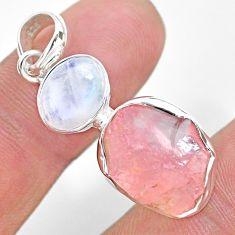 925 silver 10.32cts natural pink rose quartz raw moonstone pendant t25466