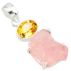925 silver 15.65cts natural pink rose quartz raw yellow citrine pendant r83108
