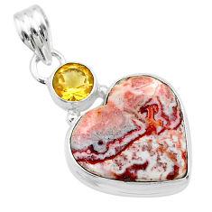 925 silver 13.70cts heart pink rosetta stone jasper citrine pendant t23112