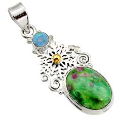 Clearance Sale- 925 silver natural pink ruby in fuchsite doublet opal australian pendant d43199