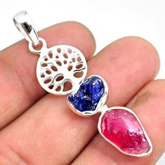 925 silver 9.47cts natural pink ruby raw fancy tree of life pendant r80784