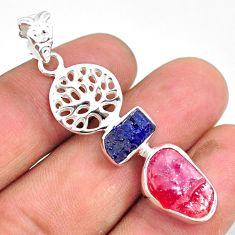 925 silver 11.89cts natural pink ruby raw fancy tree of life pendant r80798