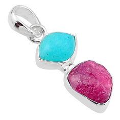 925 silver 9.35cts natural pink ruby raw peruvian amazonite pendant t48918