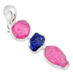 925 silver 13.15cts natural pink ruby raw sapphire rough fancy pendant r83086