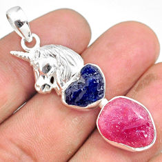 925 silver 13.65cts natural pink ruby raw sapphire rough horse pendant r80780