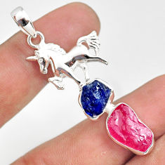 925 silver 11.71cts natural pink ruby raw sapphire rough horse pendant r80837