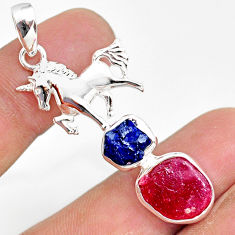 925 silver 11.36cts natural pink ruby raw sapphire rough horse pendant r80840