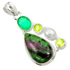 925 silver 20.33cts natural pink ruby zoisite chalcedony pearl pendant d43150
