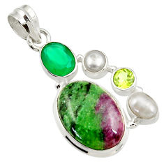 925 silver 15.76cts natural pink ruby zoisite chalcedony pearl pendant d43153