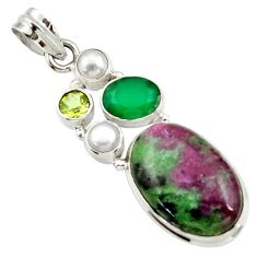 925 silver 21.72cts natural pink ruby zoisite chalcedony pearl pendant d43156