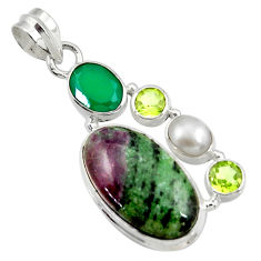 Clearance Sale- 925 silver 18.17cts natural pink ruby zoisite chalcedony pearl pendant d43158