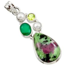 Clearance Sale- 925 silver 16.92cts natural pink ruby zoisite chalcedony pearl pendant d43160