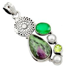Clearance Sale- 925 silver 14.61cts natural pink ruby zoisite chalcedony pearl pendant d43187