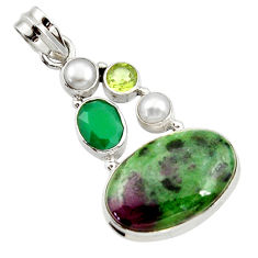 925 silver 18.94cts natural pink ruby zoisite chalcedony pearl pendant d43193