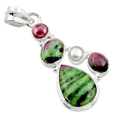 Clearance Sale- 925 silver 10.23cts natural pink ruby zoisite garnet pearl pendant d43155