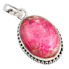 Clearance Sale- 925 silver 14.72cts natural pink thulite (unionite, pink zoisite) pendant d41430