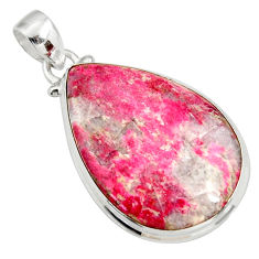 Clearance Sale- 925 silver 24.38cts natural pink thulite (unionite, pink zoisite) pendant d41433