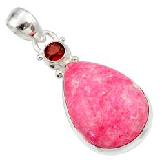 Clearance Sale- 925 silver 20.07cts natural pink thulite (unionite, pink zoisite) pendant d42293