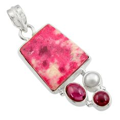 Clearance Sale- 925 silver 18.94cts natural pink thulite (unionite, pink zoisite) pendant d44946