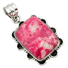 925 silver 23.48cts natural pink thulite (unionite, pink zoisite) pendant r32218