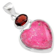925 silver 15.02cts heart pink thulite (unionite, pink zoisite) pendant t23099