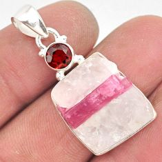 925 silver 15.05cts natural pink tourmaline in quartz garnet pendant r85754