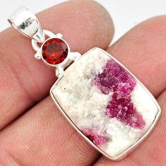 925 silver 16.20cts natural pink tourmaline in quartz red garnet pendant r85744