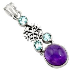 Clearance Sale- 925 silver 9.62cts natural purple amethyst blue topaz snowflake pendant d43596