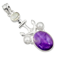 Clearance Sale- 925 silver 14.12cts natural purple amethyst moonstone pearl pendant d43585