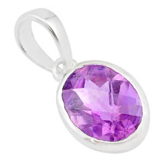 925 silver 3.67cts natural purple amethyst oval shape handmade pendant r82650