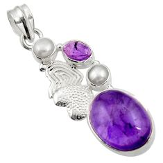 Clearance Sale- 925 silver 13.34cts natural purple amethyst pearl couple hearts pendant d43593
