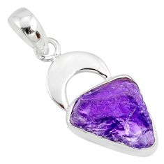 925 silver 5.64cts natural purple amethyst rough fancy handmade pendant r81056