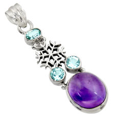 Clearance Sale- 925 silver 11.52cts natural purple amethyst topaz snowflake pendant d43640