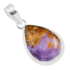 925 silver 10.30cts natural purple cacoxenite super seven pear pendant t56780