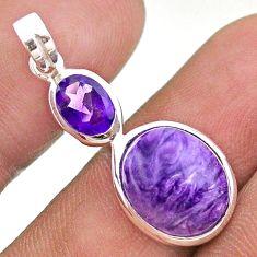 925 silver 7.17cts natural purple charoite (siberian) amethyst pendant t43135