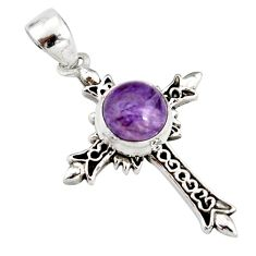 925 silver 3.37cts natural purple charoite (siberian) holy cross pendant r20154