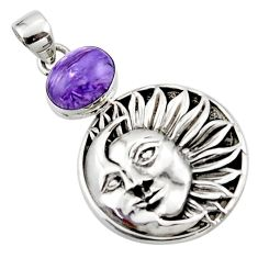 925 silver 5.49cts natural purple charoite (siberian) moon face pendant r52808