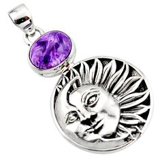 925 silver 5.38cts natural purple charoite (siberian) moon face pendant r52844