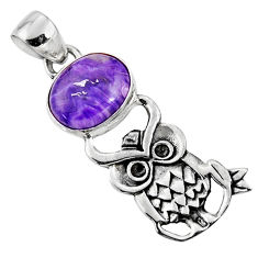 925 silver 5.11cts natural purple charoite (siberian) oval owl pendant r52904