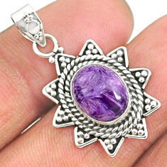 925 silver 4.71cts natural purple charoite (siberian) oval pendant r85112