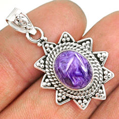 925 silver 5.17cts natural purple charoite (siberian) oval pendant r85124