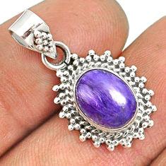 925 silver 4.47cts natural purple charoite (siberian) oval pendant r85154